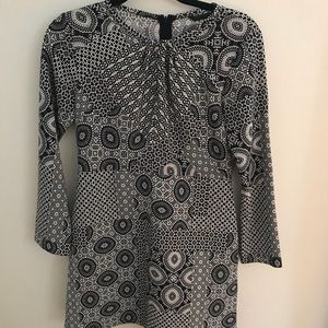 Zara Black & White Patterned Dress